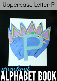 Get in some good scissor skills practice while making an adorable letter P peacock with your preschooler!