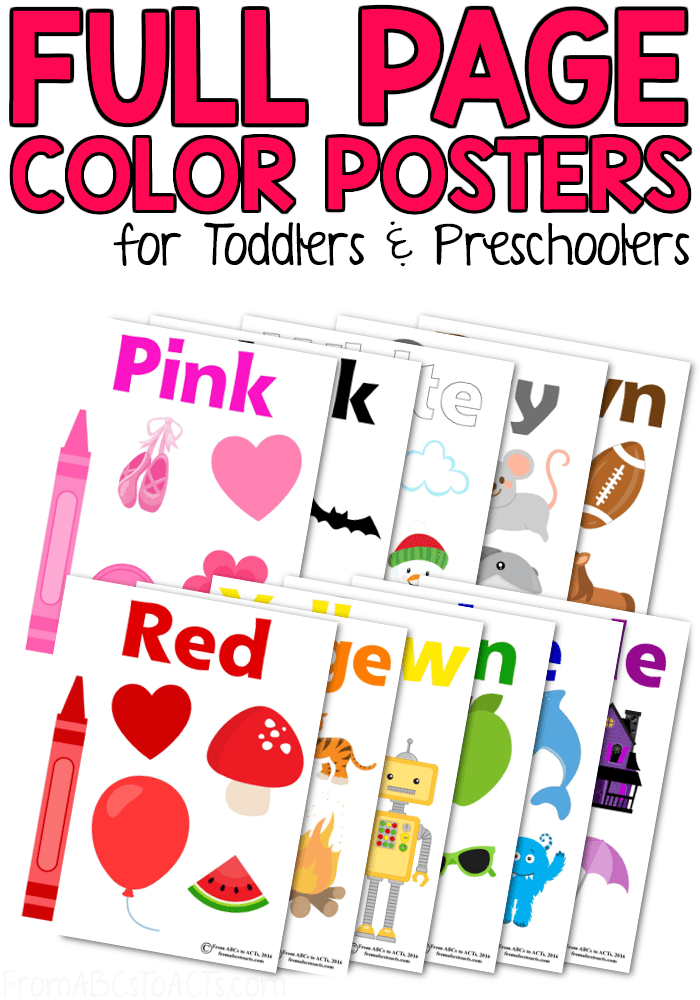 Working on teaching your toddler or preschooler their colors? These color posters are the perfect way to reinforce the colors that you're working on while building vocabulary and early literacy skills at the same time! Just print them out and hang them up!
