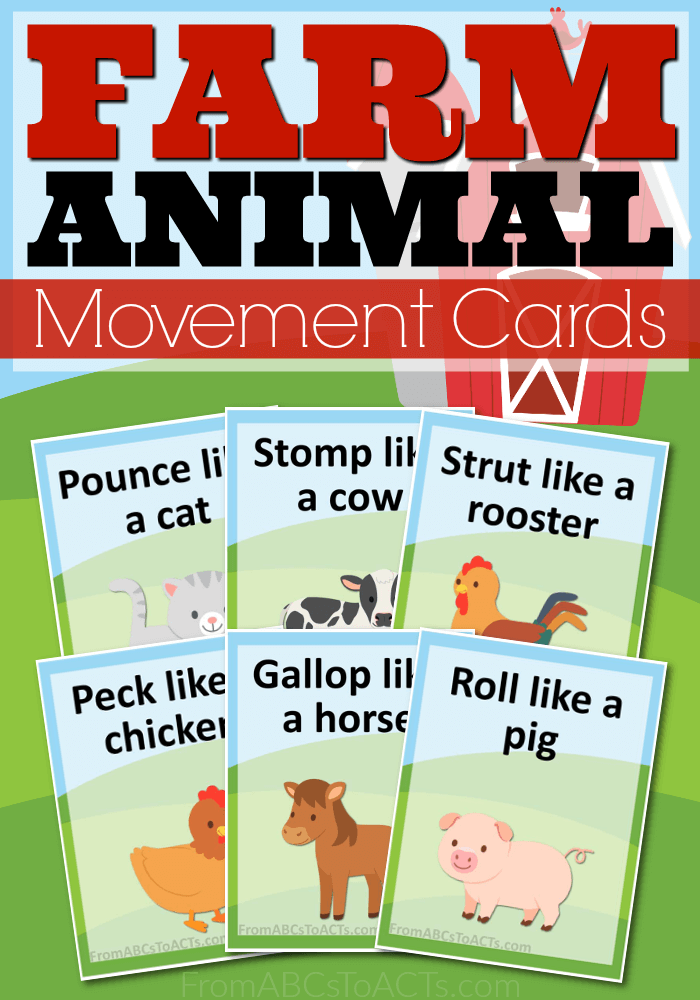 Too hot to head outside? Get the kids up and moving while learning about farm animals with these printable farm animal movement cards!