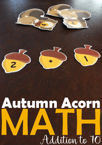 Introduce basic addition facts this fall with these fun Autumn acorn math matching printables!