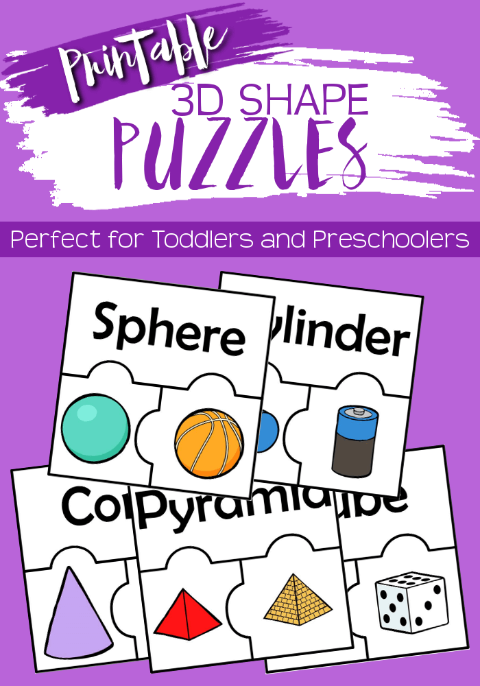 Working on 3D shapes with your preschooler or kindergartner? These 3D shape puzzles are the perfect way to practice!