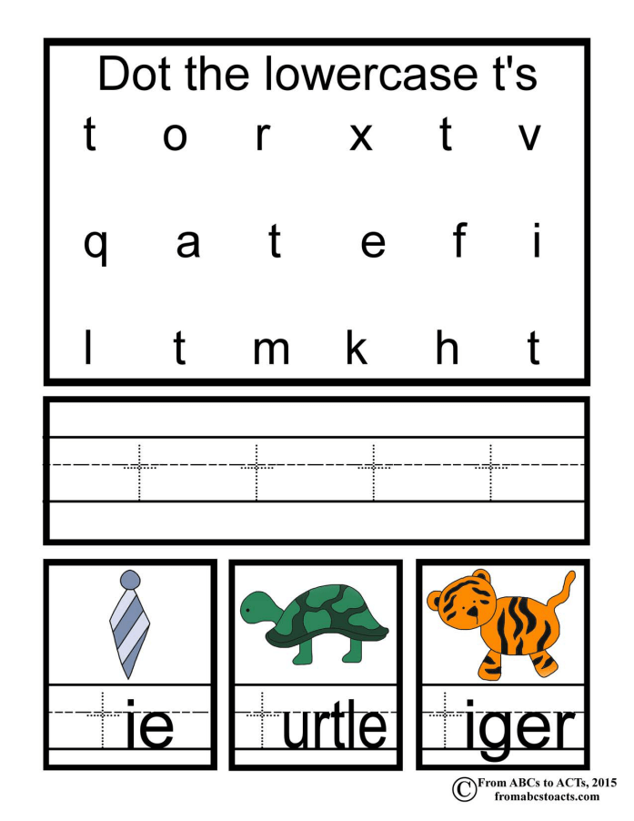 Lowercase T Printable Page