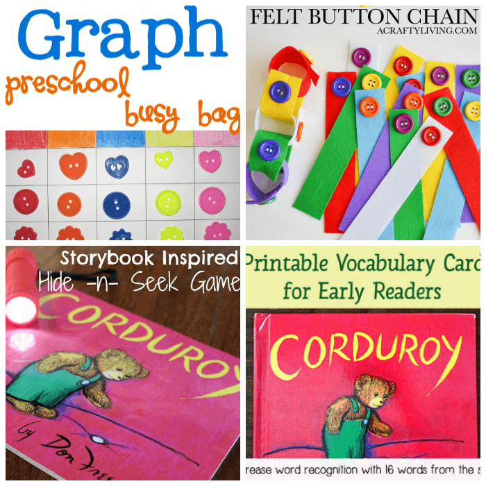 Buttons and Bear Themed Crafts for Kids Inspired by Corduroy