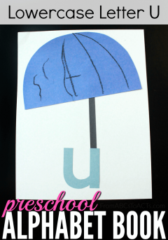 Stuck inside on a rainy day? Learn the lowercase letter U by making a fun umbrella craft with your preschooler!