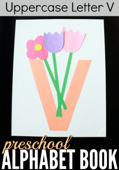 Teaching the uppercase letter V to your preschooler is easy and fun with this letter V vase craft!