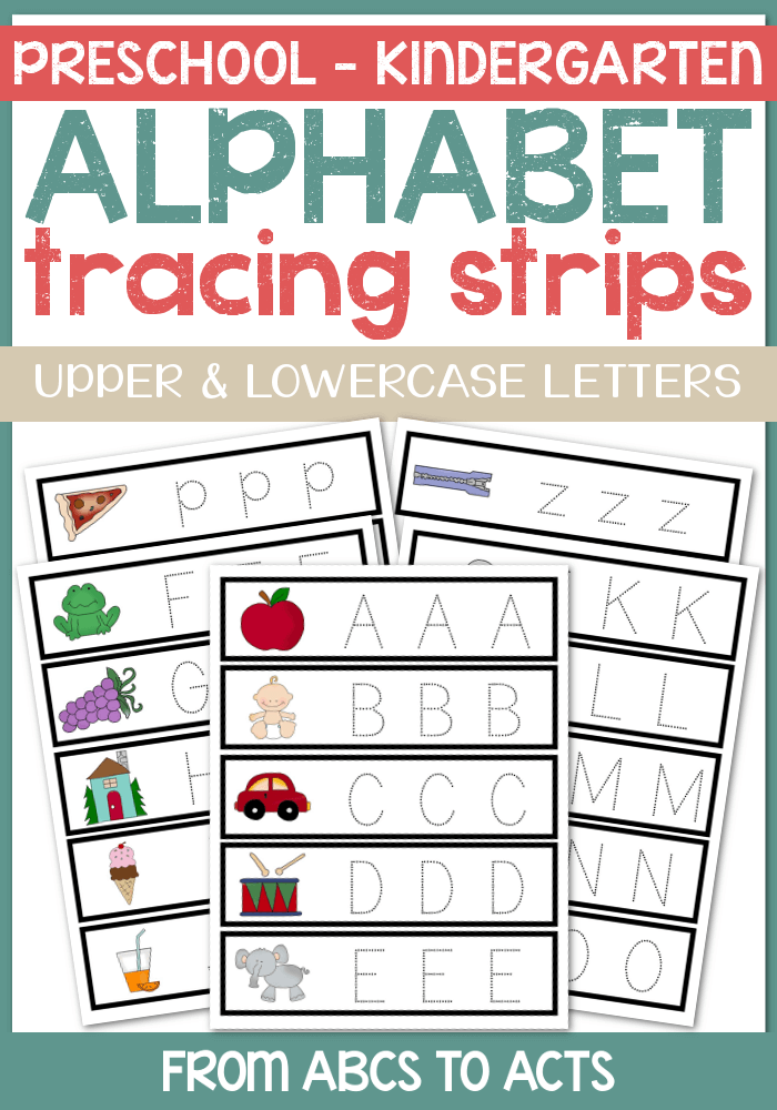 Practicing letter formation is easy with these fun alphabet tracing strips for preschoolers!