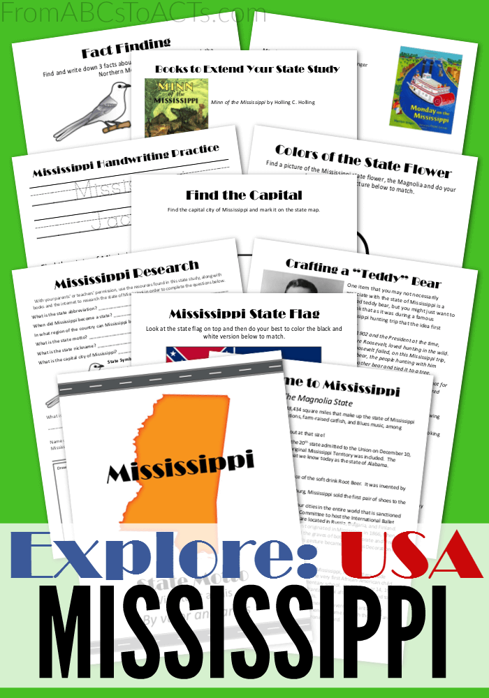 Learning about the United States? Explore the Magnolia State with this printable Mississippi state pack!