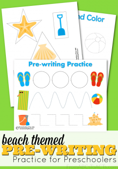 Work on fine motor skills, scissor skills, colors, and shapes this summer with this fun beach themed pre-writing practice pack for preschoolers!