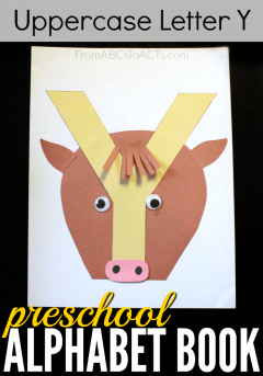 Build your own uppercase letter Y construction paper yak! This preschool alphabet book craft will help your child work on their letters of the alphabet while also being a ton of fun!