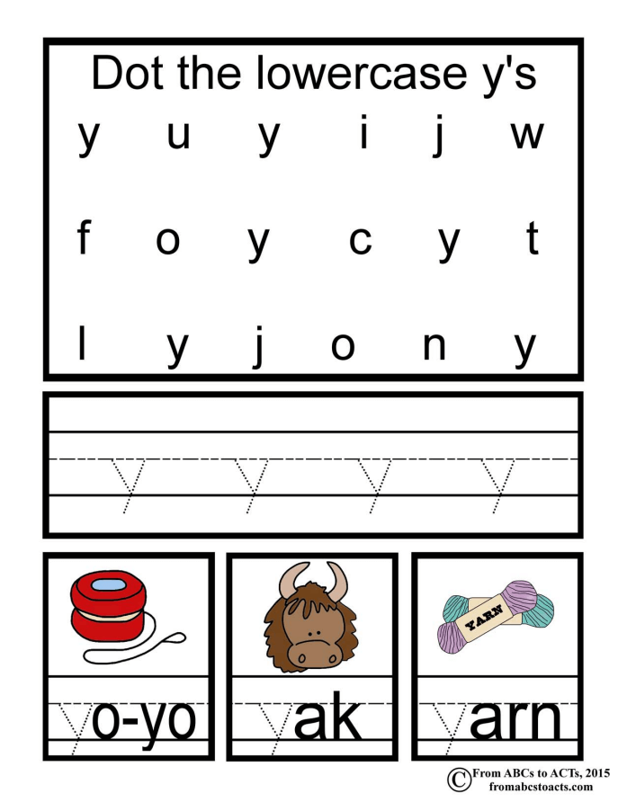 Lowercase Y printable page
