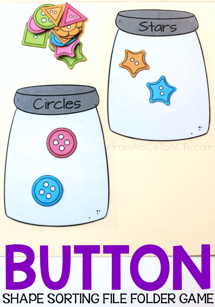 Work on early math skills, shapes, colors, and counting with this fun printable button sorting file folder game for preschoolers!