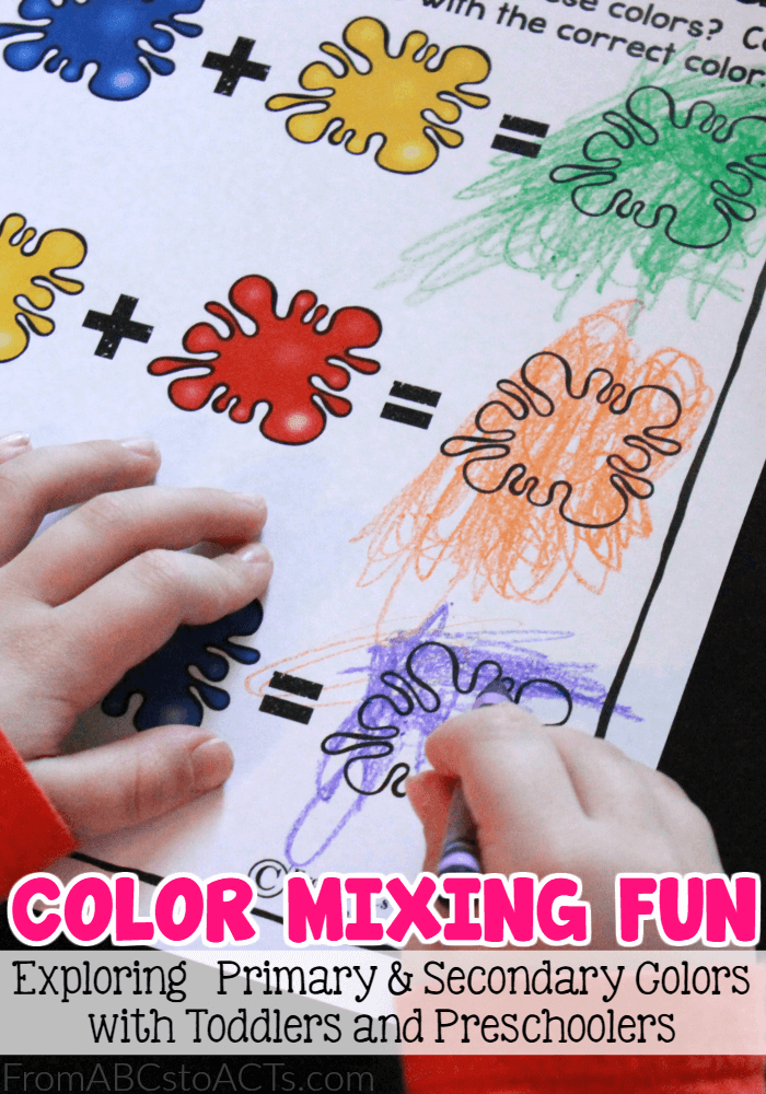 Introduce your toddler or preschooler to the concept of primary and secondary colors with a few fun color mixing activities and this free printable activity sheet!