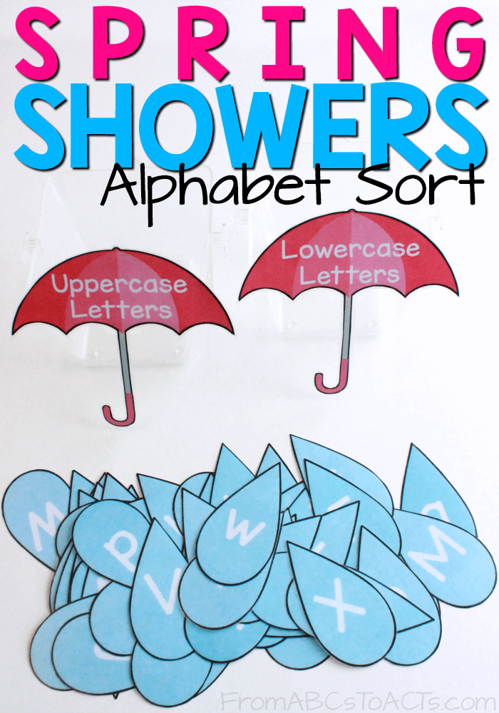 Printable spring showers alphabet sort from abcs to acts april showers bring may flowers use those spring showers to work on differentiating uppercase from mightylinksfo