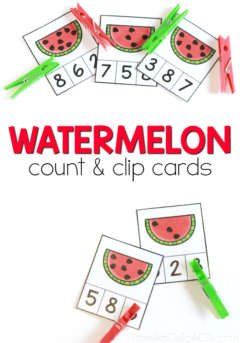 Work on those early math skills while celebrating the start of the Summer season with these adorable watermelon count and clip cards for preschoolers. #math #countandclip #mathcenters #watermelonactivitiesforkids