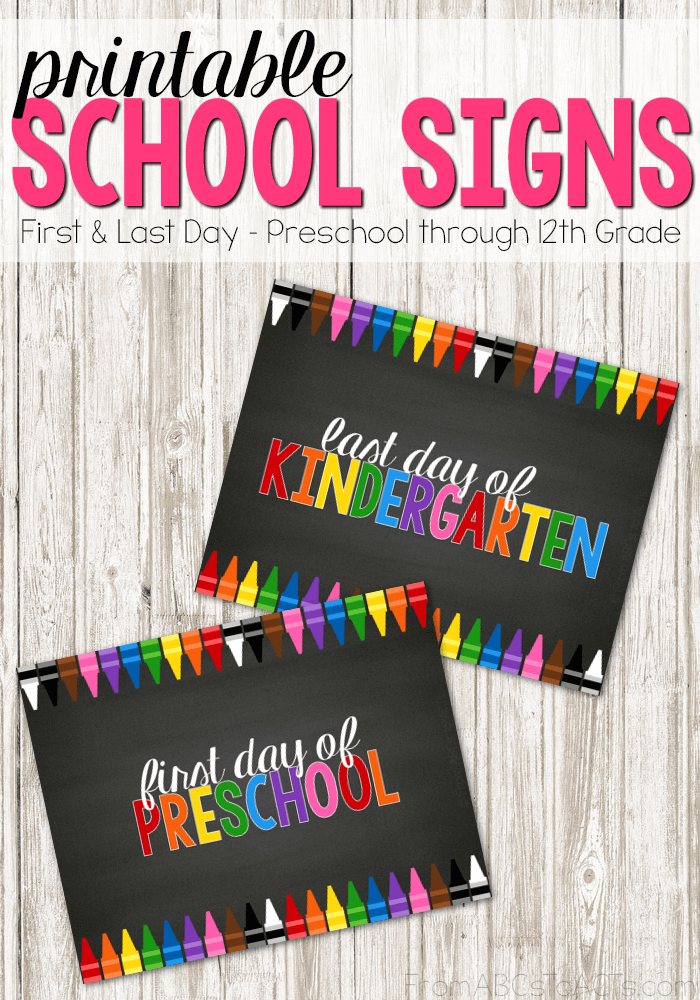 Celebrate the beginning and the end of the school year with these printable first and last day of school signs!  Preschool through 12th grade included!  #backtoschool #firstdayofschool