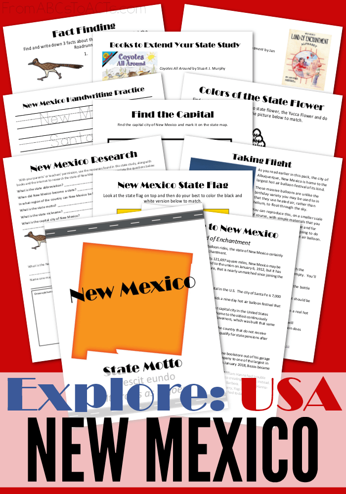 We're exploring the Land of Enchantment in this printable New Mexico state study pack! Perfect for elementary aged students that are ready to learn all about the 50 states!