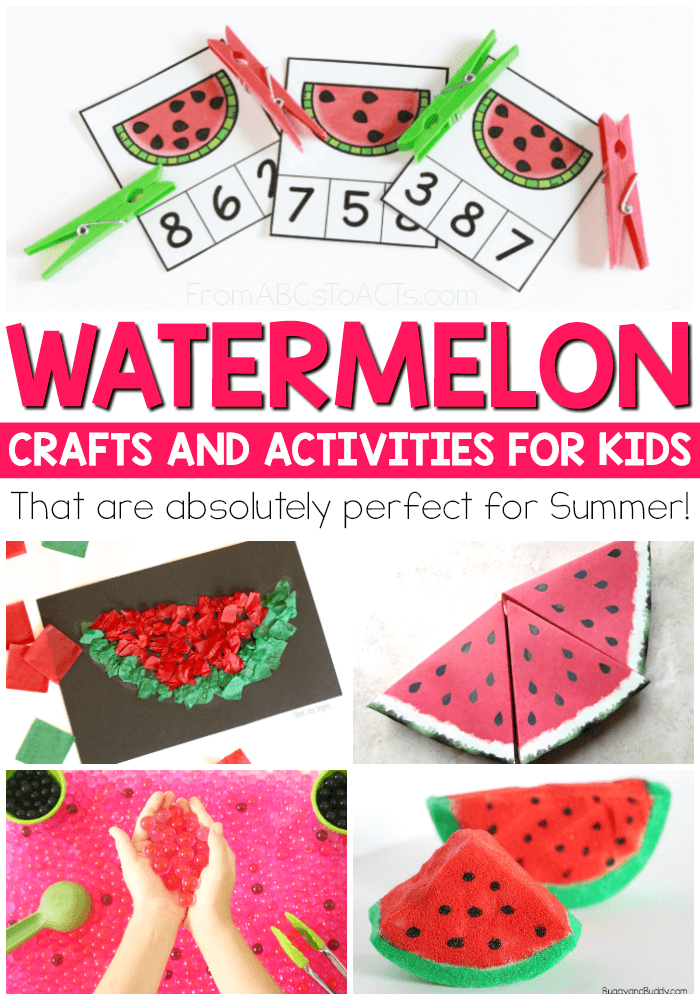 Nothing says Summer quite like watermelon! These watermelon themed crafts, activities, and printables are absolutely perfect for Summer! #watermeloncrafts #kidscrafts #summercraftsforkids #watermelonprintables