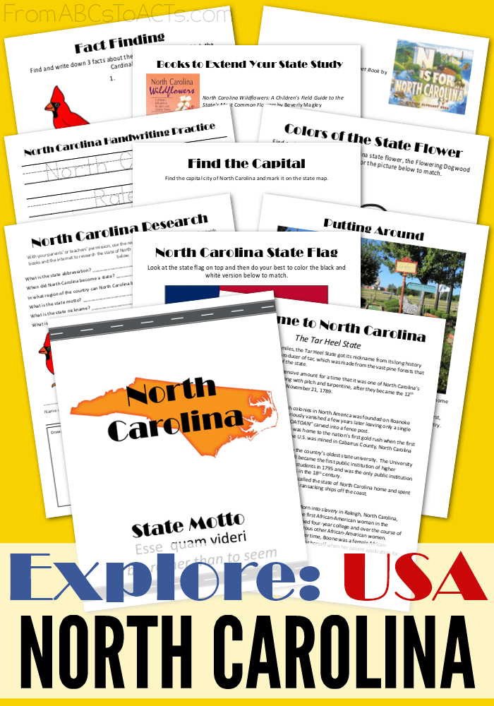 Explore the Tar Heel State in this printable North Carolina state study pack! From the nation's first gold rush to their mysteriously lost colony, we'll take a look at it all in this printable state study pack! #geography #us #50states