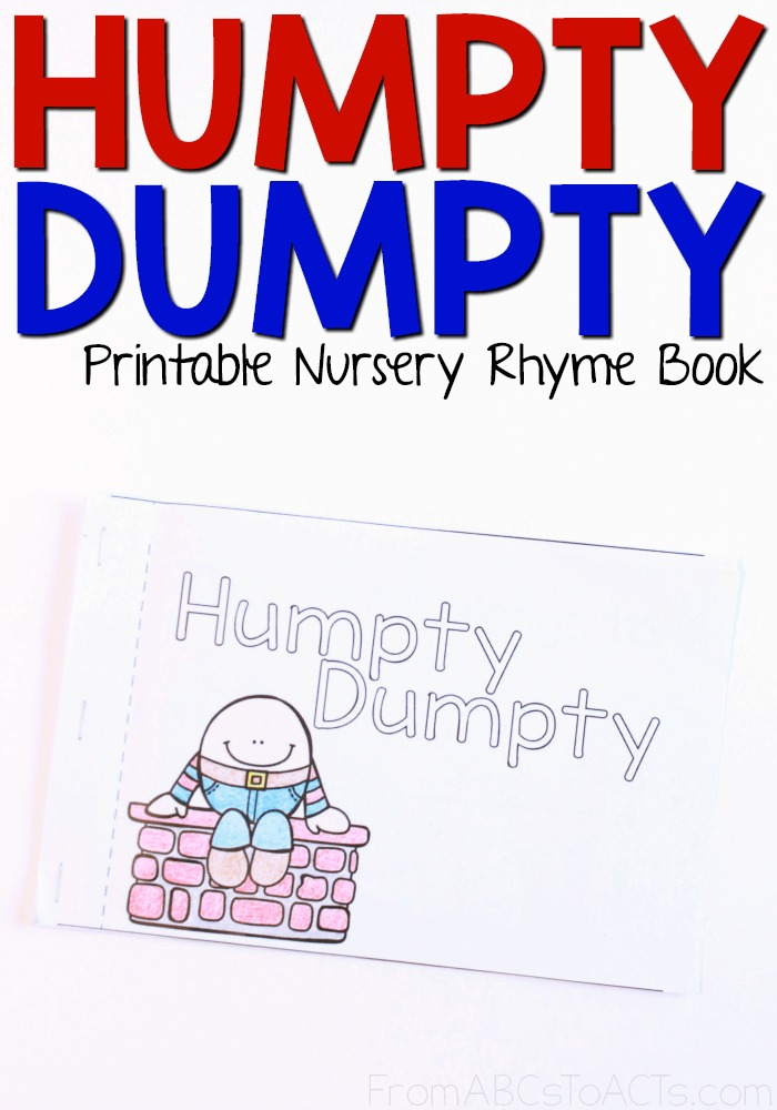 picture relating to Printable Nursery Rhymes called Humpty Dumpty - Printable Nursery Rhyme E-book Versus ABCs towards Functions