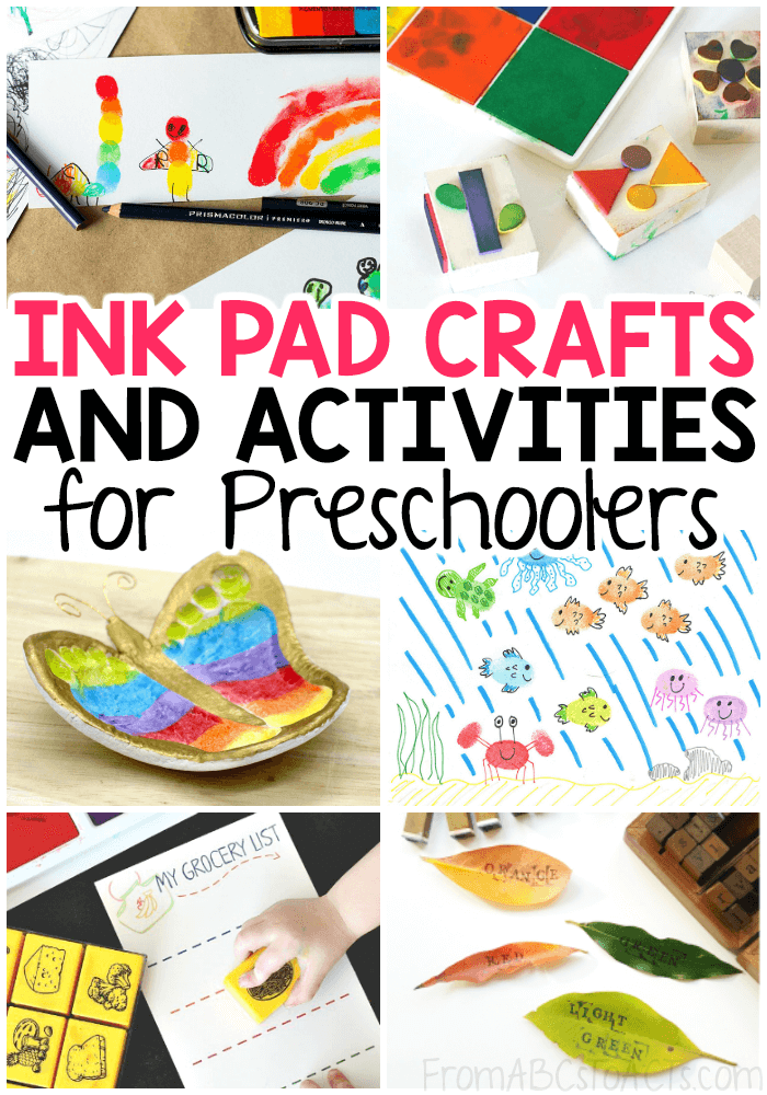 Kick your preschooler's creativity into gear with these ink pad craft and activity ideas! Such a perfect way to work on those fine motor skills! #preschool #colors #craftsforkids