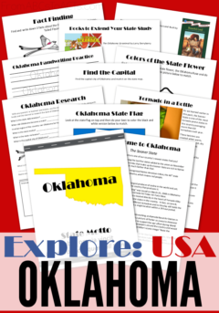 Explore the USA, one state at a time with these printable state studies! Learn all about the great state of Oklahoma and some of its most famous figures! #geography #statestudies #elementary