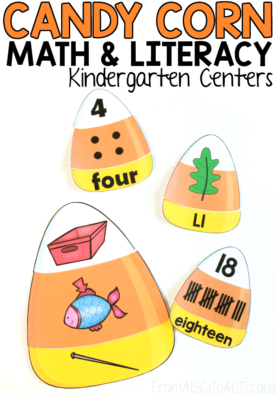 Get ready for Halloween with these fun candy corn themed math and literacy puzzles for kindergartners! Work on number word recognition, rhyming, beginning sounds, and more! #candycorn #Halloween #puzzles