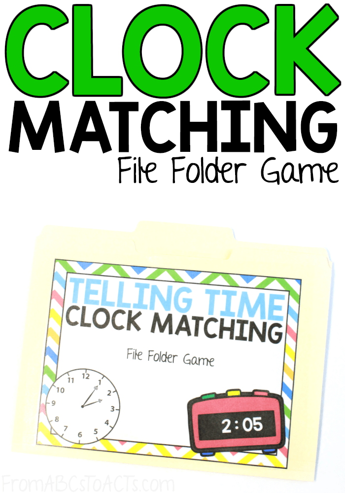 Teaching your child to tell time doesn't have to be hard! This printable clock matching file folder game is a great way to practice! #FromABCsToACTs #math
