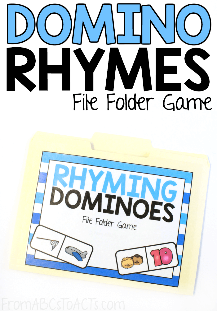 Rhyming is an important pre-reading skill that children need to master before they start trying to break down words to sound them out. This rhyming dominoes file folder game is a fantastic way to practice! #FromABCsToACTs #rhyming #kindergarten