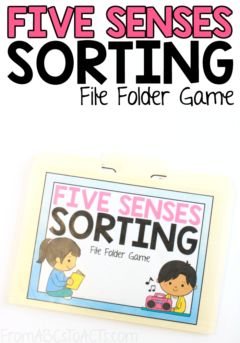 As your child explores the world around them, they'll use their five senses to do so. Teach them about each of these senses using this fun printable sorting file folder game! #FromABCsToACTs #math #science