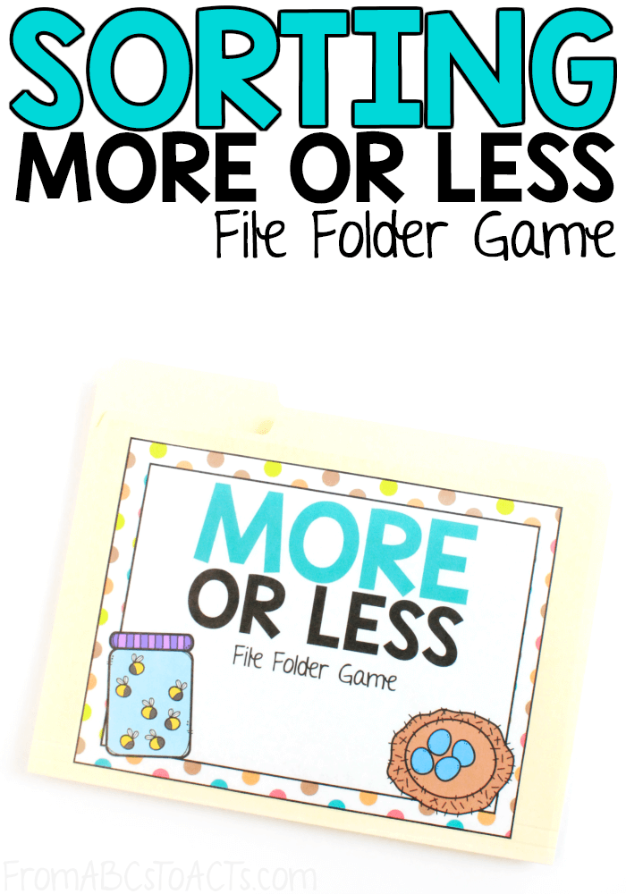 Introduce the concept of more or less to your kindergartner with this simple file folder game that is perfect for beginners! #FromABCsToACTs #math #filefoldergames