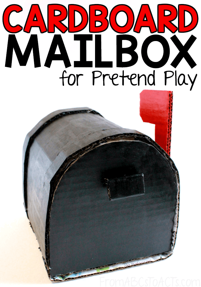 Step up your Post Office dramatic play center with a DIY cardboard mailbox that your preschoolers are going to love! It opens, closes, and even has a movable flag to tell the postman that there's mail in there! #FromABCsToACTs #pretendplay