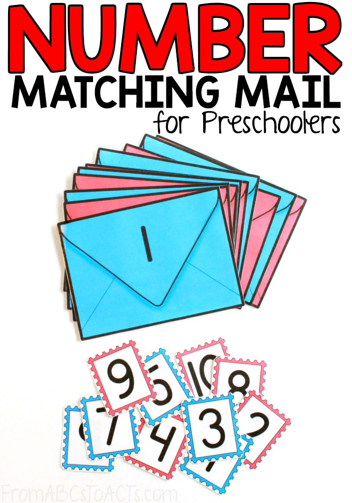 Learning about the Post Office or letter carriers with your preschooler? They're going to love this printable mail number matching activity! #FromABCsToACTs #math #preschoolthemes