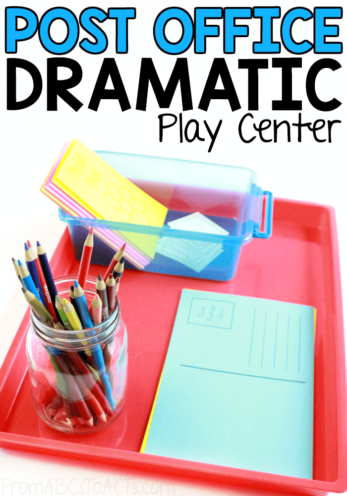 Learning about the Post Office can be so much fun and it's a fantastic way to add some more pretend play to your preschooler's day! This Post Office dramatic play center has everything you need to get started! #FromABCsToACTs #pretendplay #dramaticplay #PostOffice
