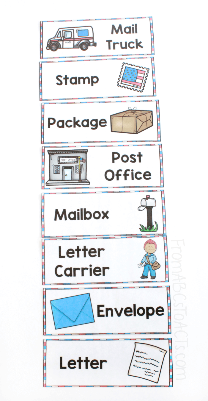 Word Wall Cards for Post Office Dramatic Play