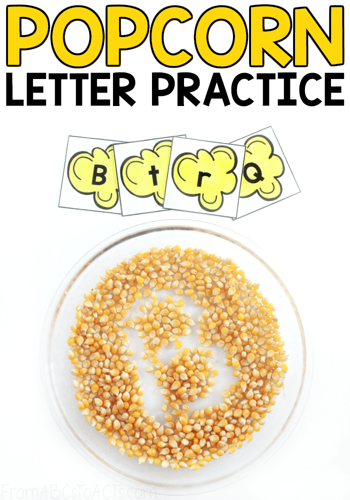 Work on letter formation while also integrating some sensory play into your day with this fun popcorn writing tray for preschoolers!