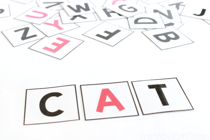 Building Words with Printable Letter Tiles