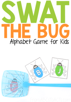 Too hot to head outside? This super fun swat the bug alphabet game can help you get your kids up, moving, and practicing letter recognition while they run off some energy! #FromABCsToACTs