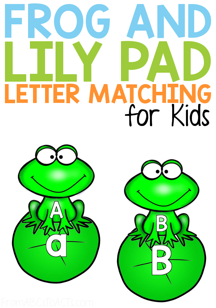 Practice matching the letters of the alphabet, both upper and lowercase, with this adorable frog and lily pad letter matching activity for preschoolers and kindergartners! #FromABCsToACTs