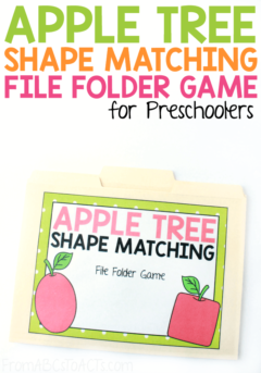 Celebrate the start of fall while practicing your shapes with this fun apple tree shape matching file folder game for toddlers and preschoolers! #FromABCsToACTs