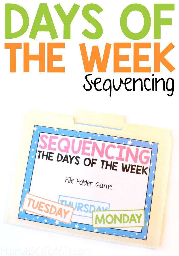 Learn and practice the order of the days of the week with this fun days of the week sequencing file folder game for preschoolers and kindergartners! #FromABCsToACTs