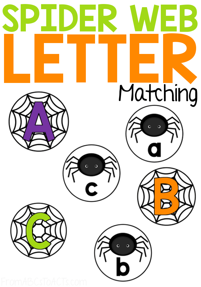 Get your literacy center ready for Halloween with this not so scary spider letter matching activity that is absolutely perfect for preschoolers and kindergartners! #FromABCsToACTs