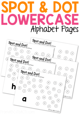Practice the lowercase letters of the alphabet and fine motor skills at the same time with these fun lowercase Spot & Dot Do-A-Dot pages for preschoolers and kindergartners! #FromABCsToACTs