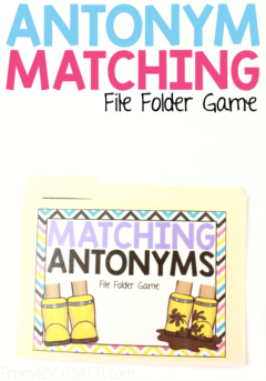 If your child is a visual learner that needs to see a concept to understand it, this fun file folder game is the perfect way to work on antonyms! They'll not only listen to the words, but see them in picture form as well! #FromABCsToACTs