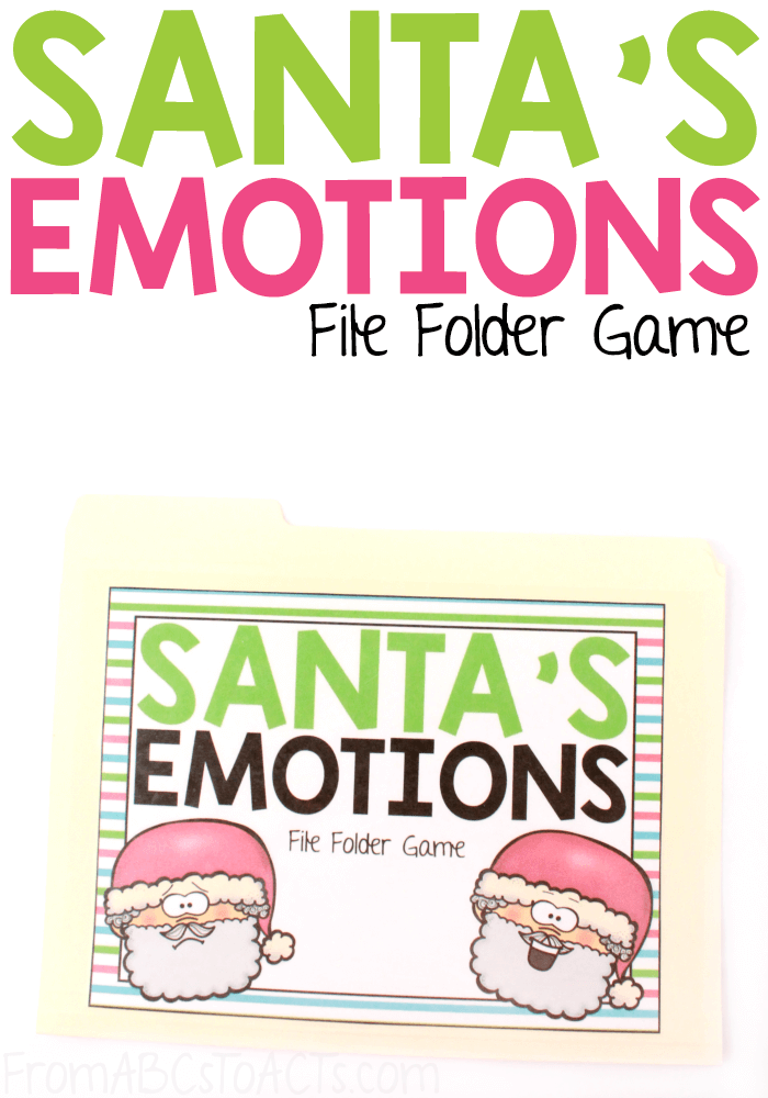 Ring in the holiday season by teaching your toddler or preschooler about various different types of emotions with this Christmas-themed emotion matching file folder game featuring Santa Claus! #FromABCsToACTs