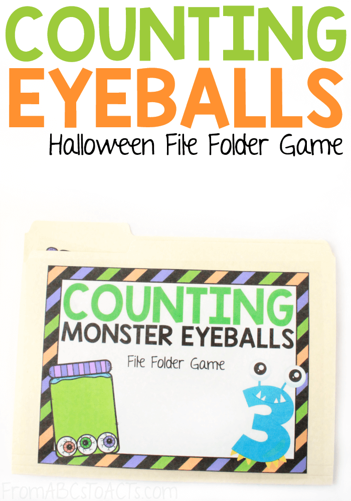 Are you ready for Halloween? Practice counting, number recognition, one to one correspondence, and more with this adorable monster-themed file folder game that is perfect for preschoolers! #FromABCsToACTs