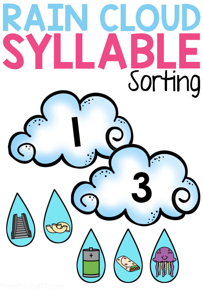 Practice counting syllables this Spring with this rain cloud syllable sorting activity!  This activity makes the perfect rainy day literacy center for kindergartners!  #FromABCsToACTs