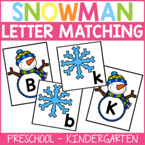 Build those early literacy skills by matching the upper and lowercase letters of the alphabet with these snowman letter matching cards!