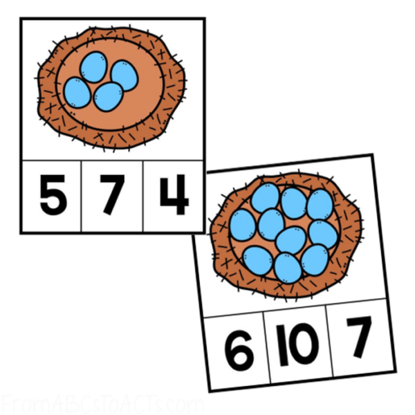 Sping Themed Count and Clip Cards