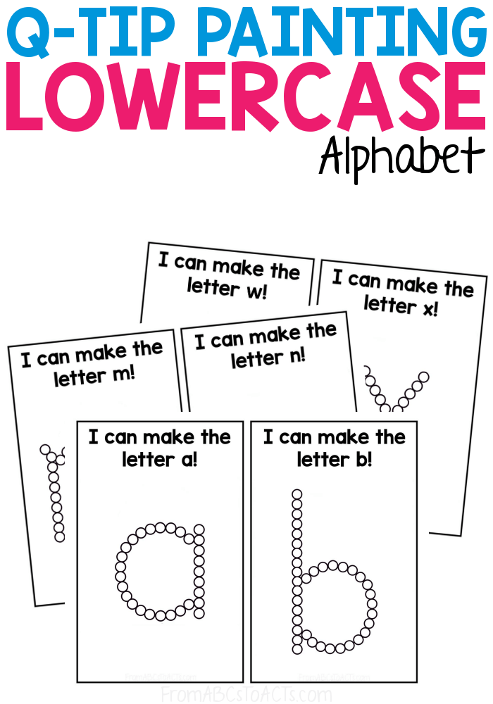 Q-Tip painting is an excellent way to work on fine motor skills, hand-eye coordination, and so much more! With these printable Q-Tip painting cards, you'll also work on the lowercase letters of the alphabet making this activity perfect for your literacy center! #FromABCsToACTs