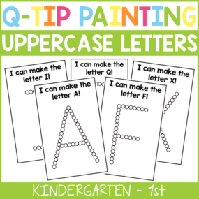 Q-Tip Uppercase Alphabet Painting Cards
